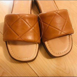 ISO tan or black Mariella leather quilted sandals